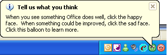 Send a Smile/ Frown to Microsoft