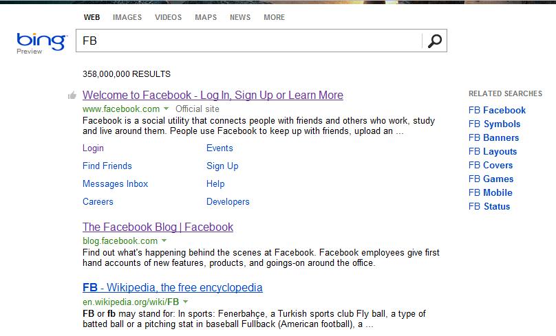 Searching FB on Bing
